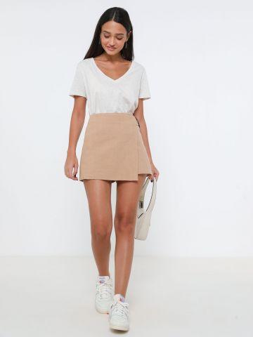 מכנסי חצאית פשתן עם אבזם