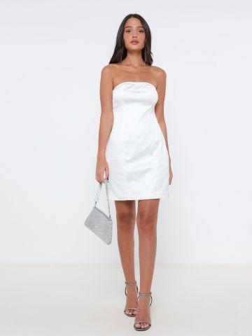 שמלת סטרפלס סאטן