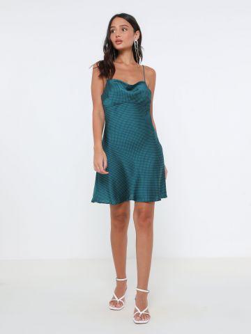 שמלת מיני סאטן נקודות
