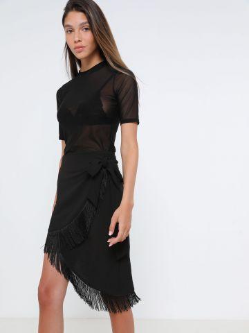 חצאית מיני מעטפת אסימטרית