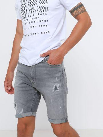 ג'ינס ווש קצר עם קרעים