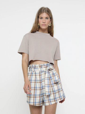 מכנסי פייפרבאג קצרים בהדפס משבצות