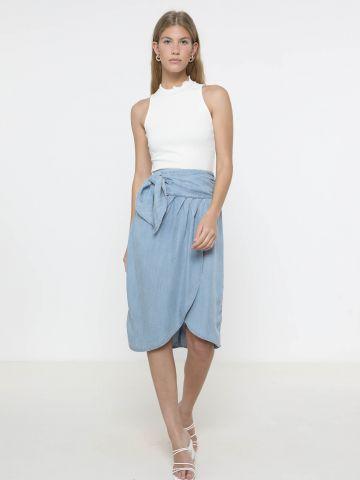 חצאית ג'ינס מידי מעטפת