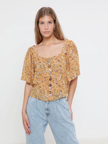 חולצה בהדפס פרחים עם כפתורים