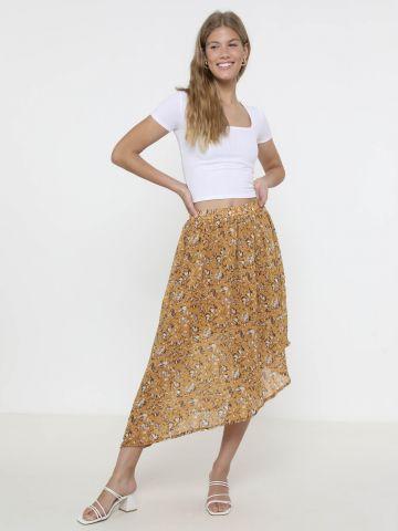 חצאית מידי אסימטרית בהדפס פרחים
