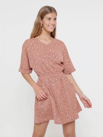 שמלת מיני נקודות עם גומי מותן