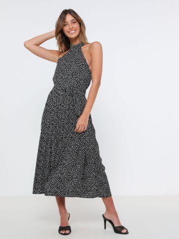 שמלת מידי קולר בהדפס נקודות