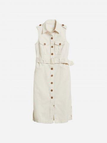 שמלת מידי פשתן עם כפתורים וחגורה / נשים של BANANA REPUBLIC