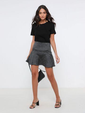 חצאית מיני סאטן בהדפס חברבורות
