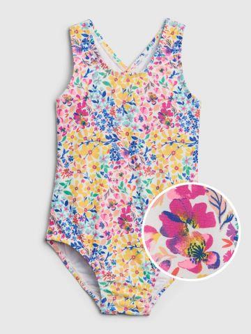 בגד ים שלם בהדפס פרחים עם כתפיות איקס / 12M-5Y