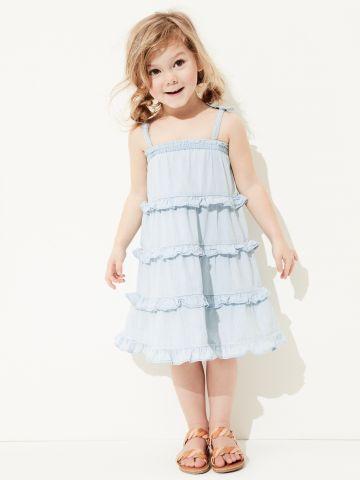 שמלת ג'ינס בשטיפה בהירה בסגנון קומות ובשילוב מלמלה / 12M-5Y
