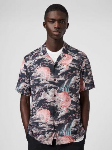 חולצה מכופתרת בהדפס חיות Slim של ALL SAINTS