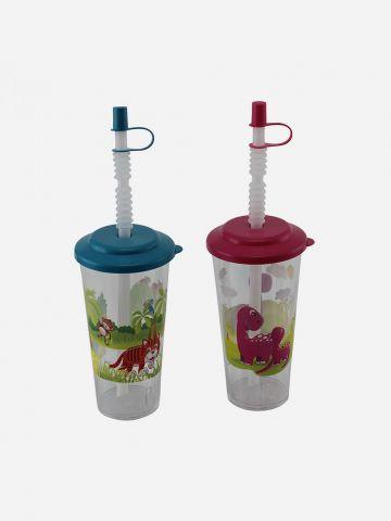 מארז 2 כוסות עם איורי חיות וקשיות