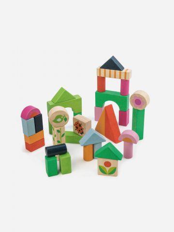 34 קוביות בניה מעץ מלא Tender Leaf Toys / +1.5
