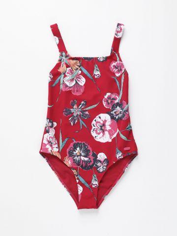 בגד ים שלם בהדפס פרחים / בנות
