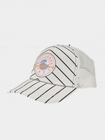 כובע מצחייה בהדפס פסים עם רשת