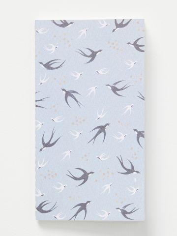 מחברת עם כריכה בהדפס ציפורים