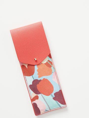 נרתיק עפרונות דמוי עור בהדפס פרחים