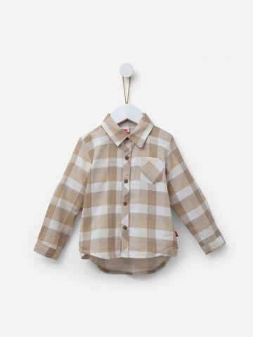 חולצת משבצות מכופתרת / 3M-3Y