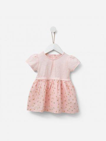 שמלת טי שירט עם חצאית פרחונית / 0-3Y