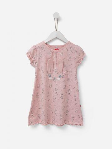 שמלה מתרחבת בהדפס ארנבים עם אוזניים תלת מימד / בנות