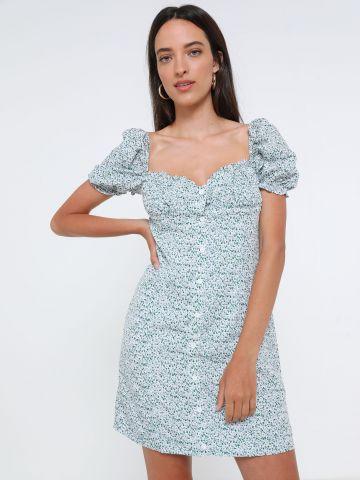 שמלת מיני בהדפס פרחים עם שרוולים נפוחים