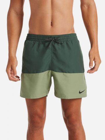 מכנסי בגד ים שני צבעים עם לוגו
