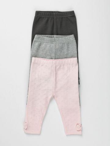 מארז 3 מכנסי טייץ עם פפיון / 0-2Y