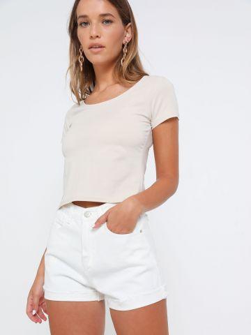 ג'ינס קצר עם סיומת קיפול של TERMINAL X