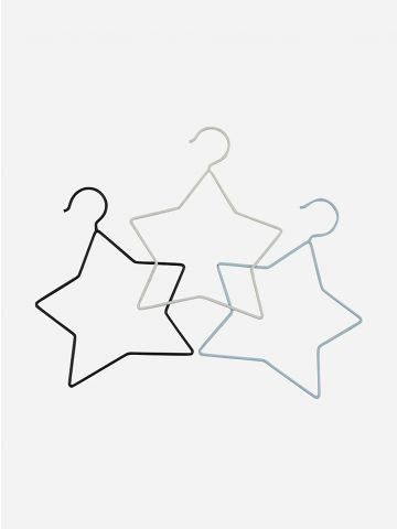 סט 3 קולבים בדוגמת כוכבים