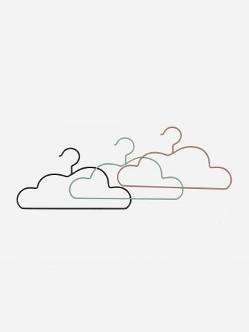סט 3 קולבים בדוגמת עננים