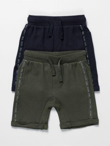 מארז 2 מכנסיים עם כיסים וסטריפים / 3M-3Y