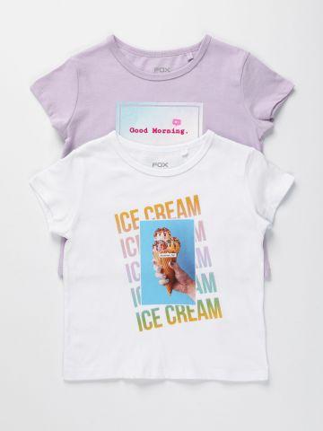 מארז 2 חולצות טי שירט עם הדפס / בנות