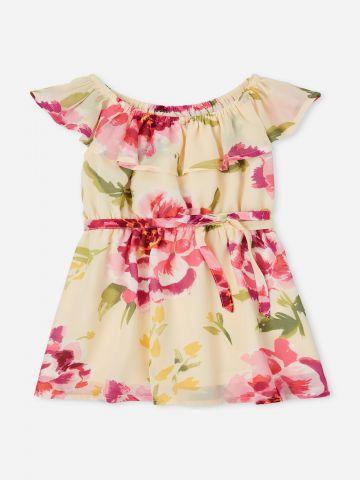 שמלת פרחים עם מלמלה / 9M-5Y