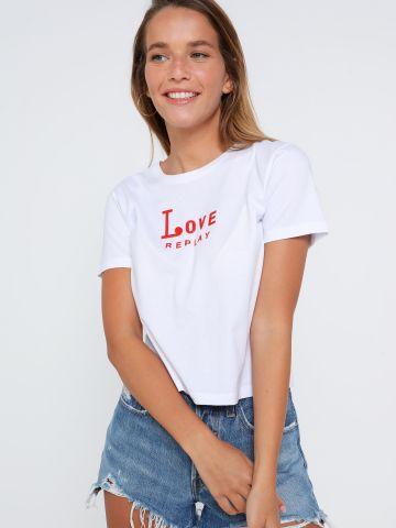 טי שירט קרופ עם תבליט כיתוב Love