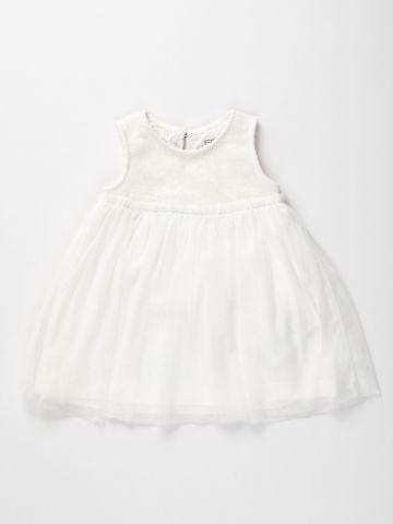 שמלה עם חצאית טול ופייטים / 3M-3Y