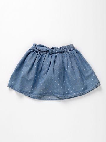 חצאית ג'ינס בהדפס נקודות / 3M-3Y