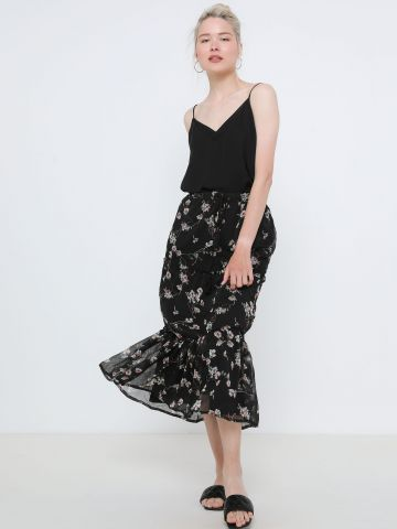 חצאית מידי בהדפס פרחים