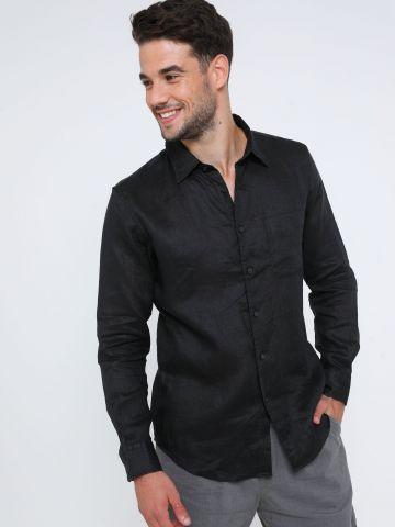 חולצת פשתן מכופתרת