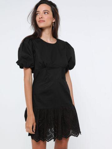 שמלת מיני פפלום עם רקמה ושרוולים נפוחים