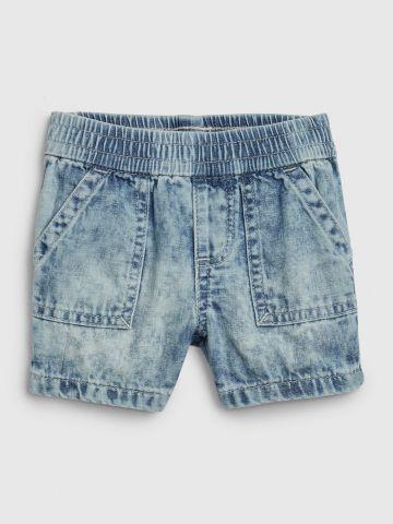 ג'ינס קצר אסיד ווש עם גומי במותן / 0-24M של GAP