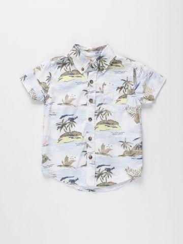 חולצה מכופתרת בהדפס הוואי / בנים