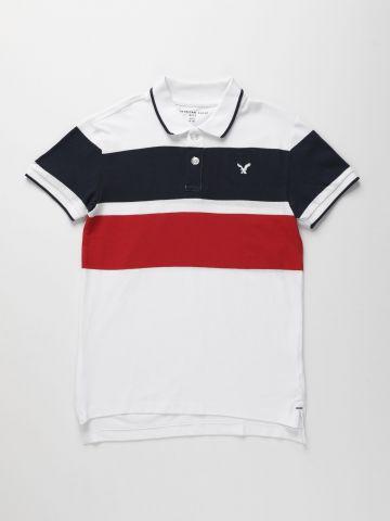 חולצת פולו קולור בלוק עם לוגו / בנים