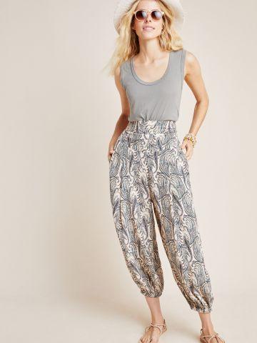 מכנסיים רחבים בהדפס פייזלי