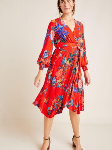 שמלת מידי מעטפת בהדפס פרחים של ANTHROPOLOGIE