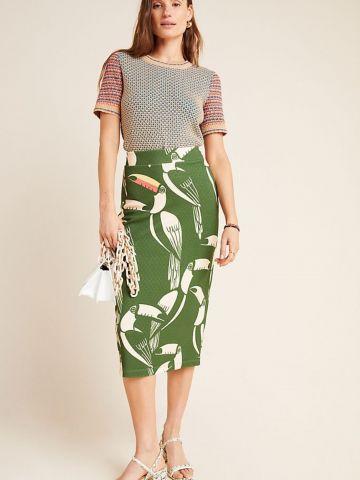 חצאית עיפרון בהדפס תוכים Farm Rio