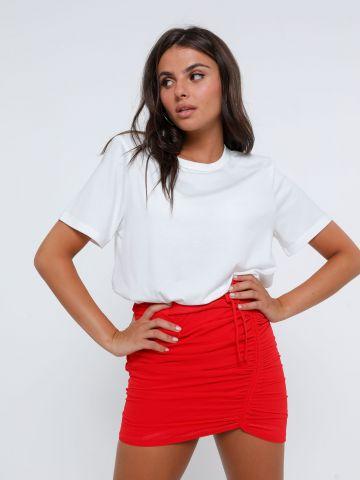 חצאית מיני דמוי שיפון עם כיווץ של KIMOR X TERMINAL X