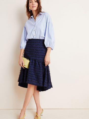 חצאית מידי בטקסטורת פרנזים Maeve