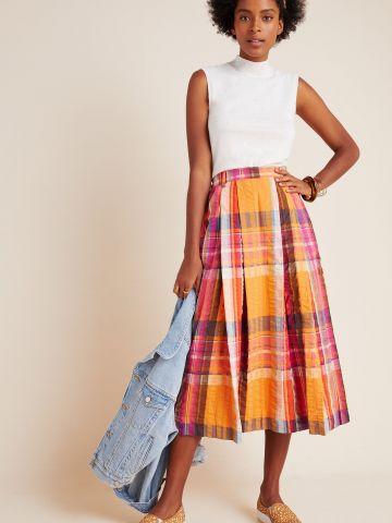 חצאית מידי בהדפס משבצות של ANTHROPOLOGIE