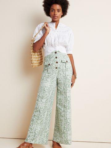 מכנסיים רחבים בהדפס אבסטרקטי